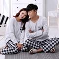 2016 осенью и зимой любители пижамы весной плед простой мужская с длинными рукавами хлопок костюм Мисс Хан Пан костюм дома