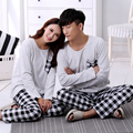 2016 autumn and winter lovers sleepwear spring plaid simple men's long-sleeved cotton tracksuit Miss Han Ban suit home