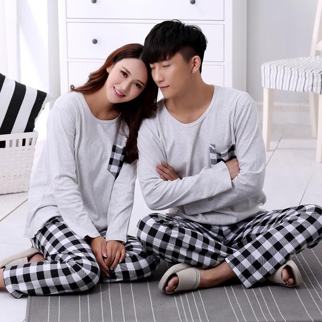 2016 de otoño e invierno amantes de la ropa de noche de primavera a cuadros simples hombres de manga larga chándal de algodón Señorita Han Ban traje casa