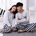 2016 outono e inverno amantes sleepwear primavera xadrez dos homens simples Senhorita Han Ban longo-algodão de mangas compridas treino terno casa