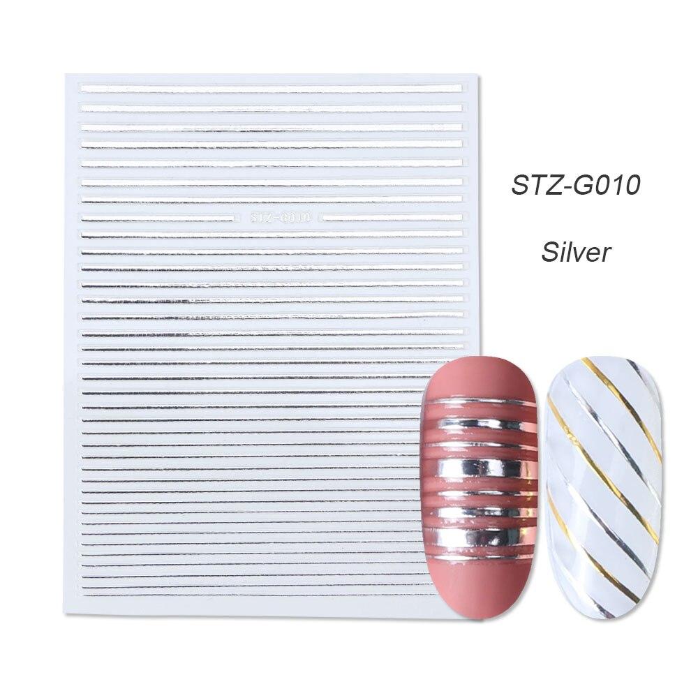 1 шт золотые Серебристые 3D наклейки для ногтей прямые изогнутые вкладыши полосы ленты обертывания геометрический дизайн ногтей украшения BESTZG001-013 - Цвет: STZ-G010 Silver