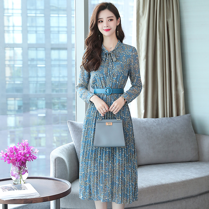 2019 Autumn Winter Vintage Chiffon Floral Midi Dress Plus Size Maxi Boho Dresses Elegant Women Party Long Sleeve Dress Vestidos 58