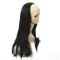 ZYR Women S Half Wig Black Long Wavy Synthetic 3 4 Wigs