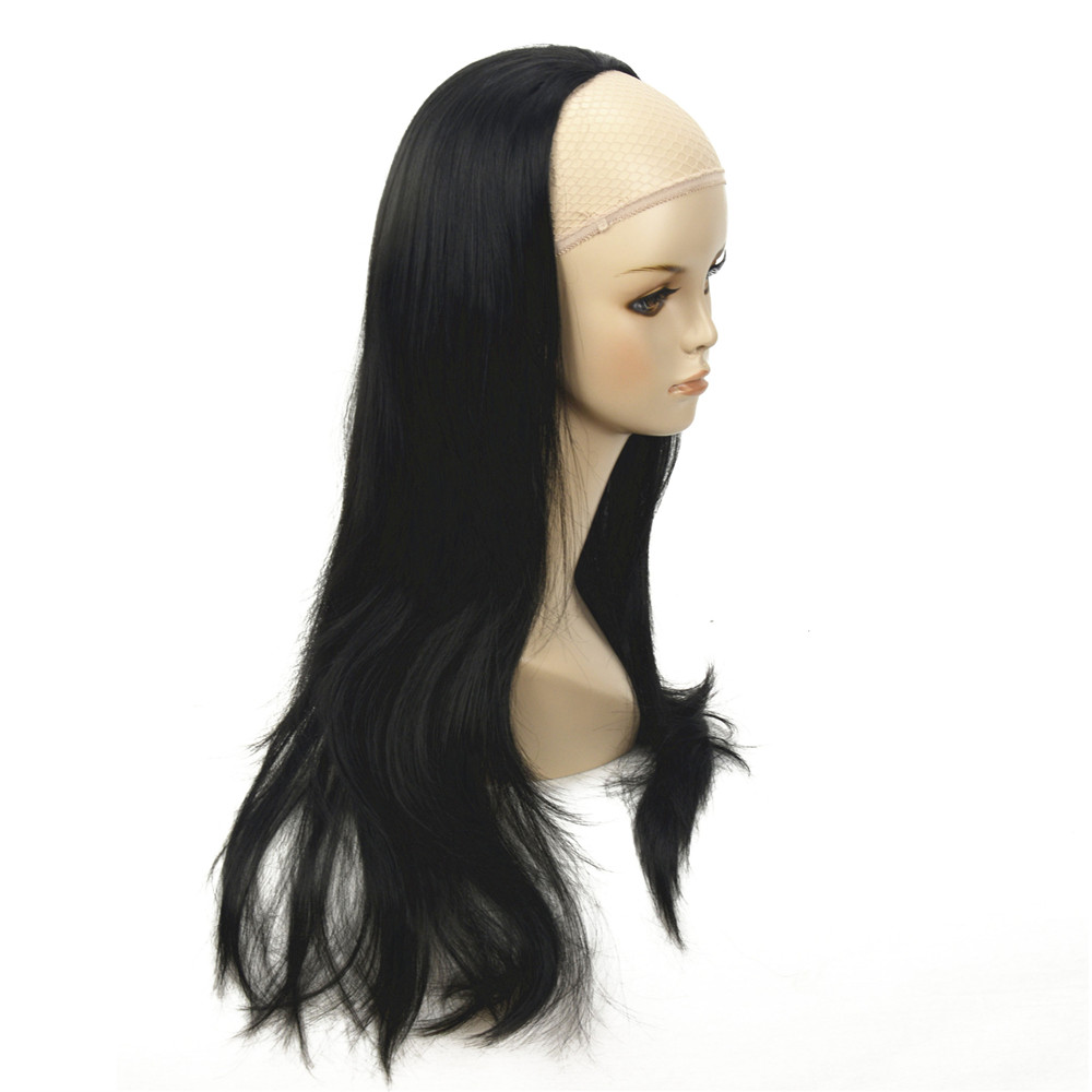 ZYR Women s Half Wig Black Long Wavy Synthetic 3 4 Wigs