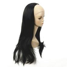 ZYR Women's Half Wig Black Long Wavy Synthetic 3/4 Wigs