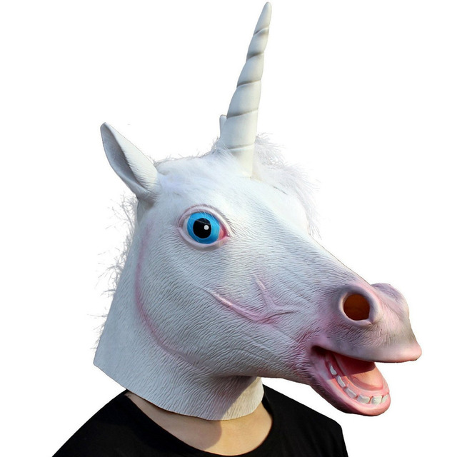 Unicorn Full Head Horse Mask for Masquerade Party Halloween Cosplay Mask Animal Latex Mask
