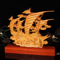 Wood carved sailboat,desktop Decoration home decorations ornaments(A022)