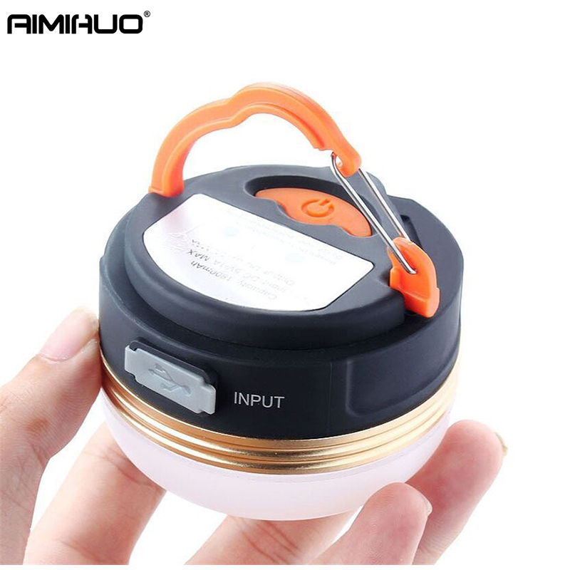 AIMIHUO Outdoor Camping Light Mini USB Rechargeable Camping Lamp With Magnet Hook Tent Waterproof LED Lantern Built-in Battery