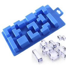 Reusable Tetris Bricks Silicone Ice Cube Tray Biscuit Chocolate Mold Bar Wine Ice Maker Mould Styling Kitchen DIY Baking Tools