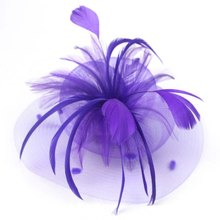 Wedding Party Cocktail Sluier Mini Hoed Cap Feather Veil Hair Clip Fascinato(China)