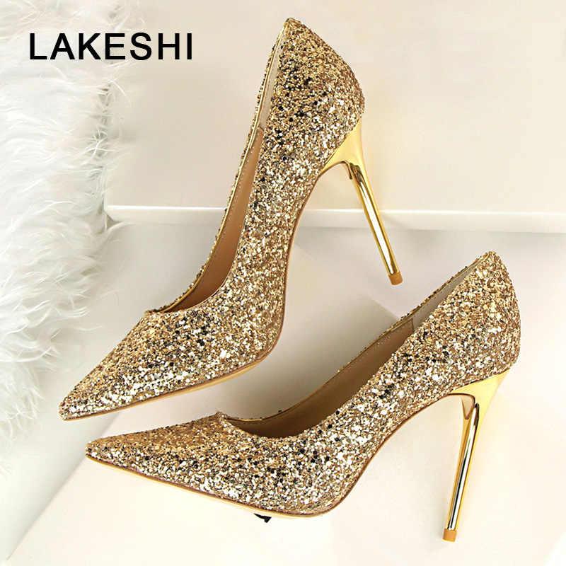 628327323124b LAKESHI Women Pumps Bling High Heels Women Shoes Fashion Wedding Shoes  Pointed Toe Sexy High Heels