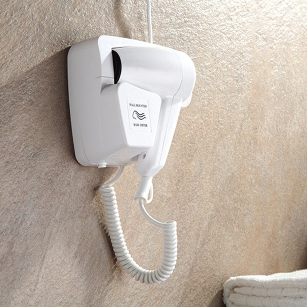 Wall Mounted Hair Dryer Professional 1200W 220V Security Electric Blower With Holder Household Hanging Hair Dryer ABS For Hotel modun m 1288a 1200w wall mounted electric hair dryer white 2 flat pin plug