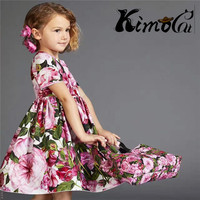 Kimocat New Girl Vestidos Summer Short Sleeved Cotton D G With Big Rose Floral Print Dresses