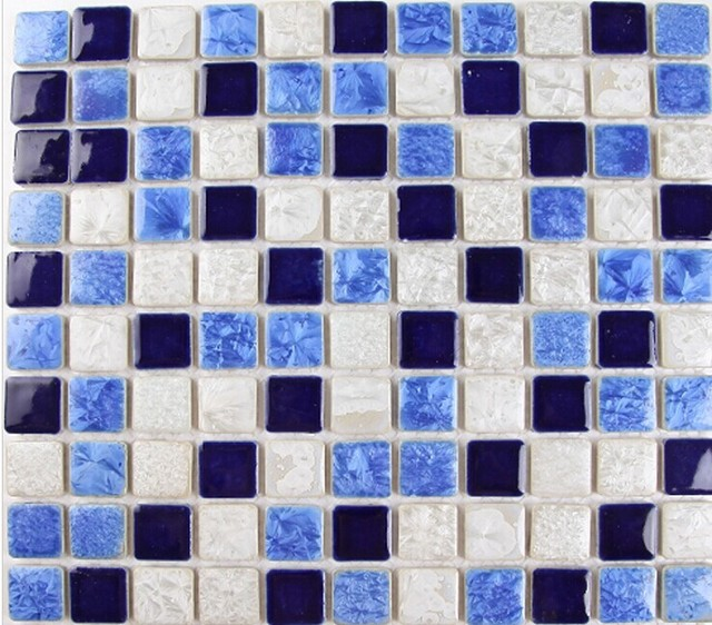 Navy Blue Sky White Porcelain Ceramic Mosaic Tile for kitchen