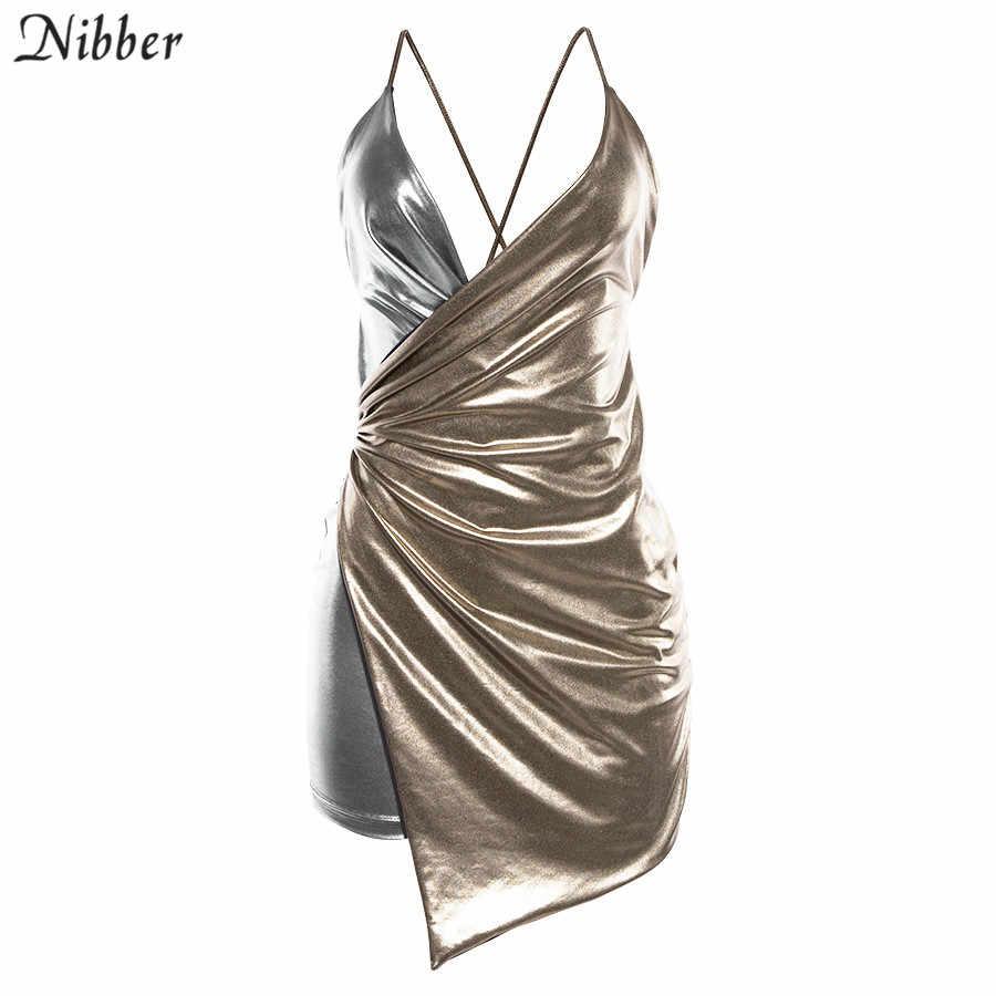 Nibber Сексуальное Женское Платье на бретельках с низким вырезом на спине золотого и серебристого цвета, новинка 2019, модное облегающее мягкое женское удобное вечернее платье