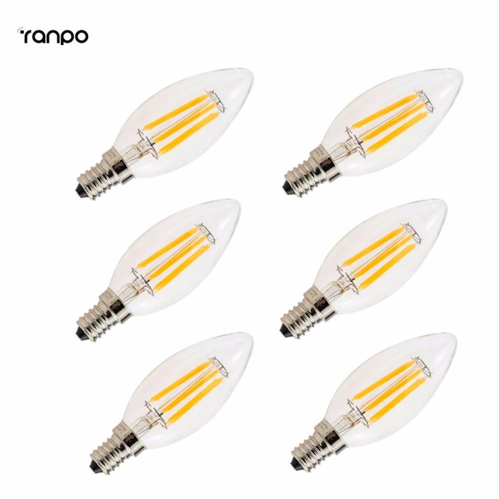 6 PCS Energy Saving Retro E14 2W 4W 6W Glass LED Candle Lights Filament Edison Bulb Lamp Light Chandelier Replace Incandescent