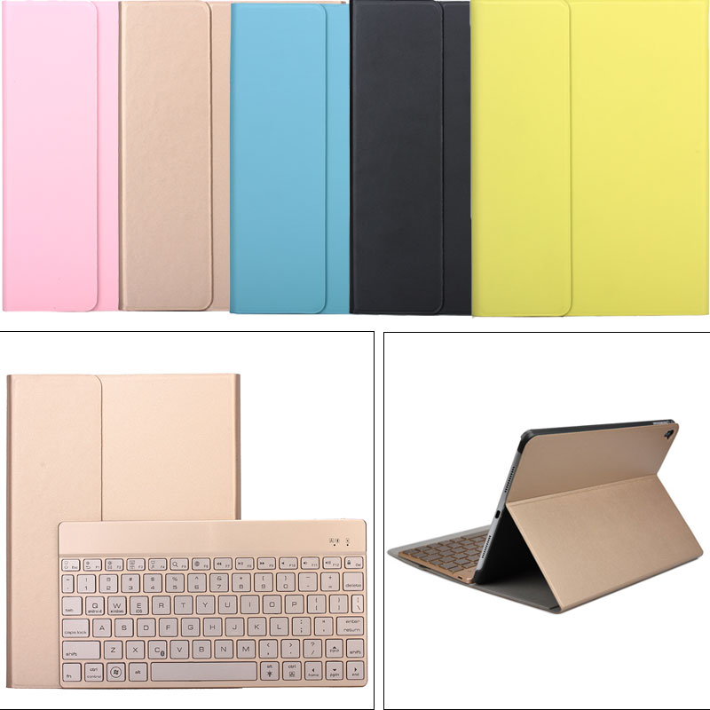 ФОТО Detachable 7 Colors Backlight Wireless Bluetooth Keyboard + Flip PU Leather Case Stand Cover For iPad Air 2/ Pro 9.7inch QJY99