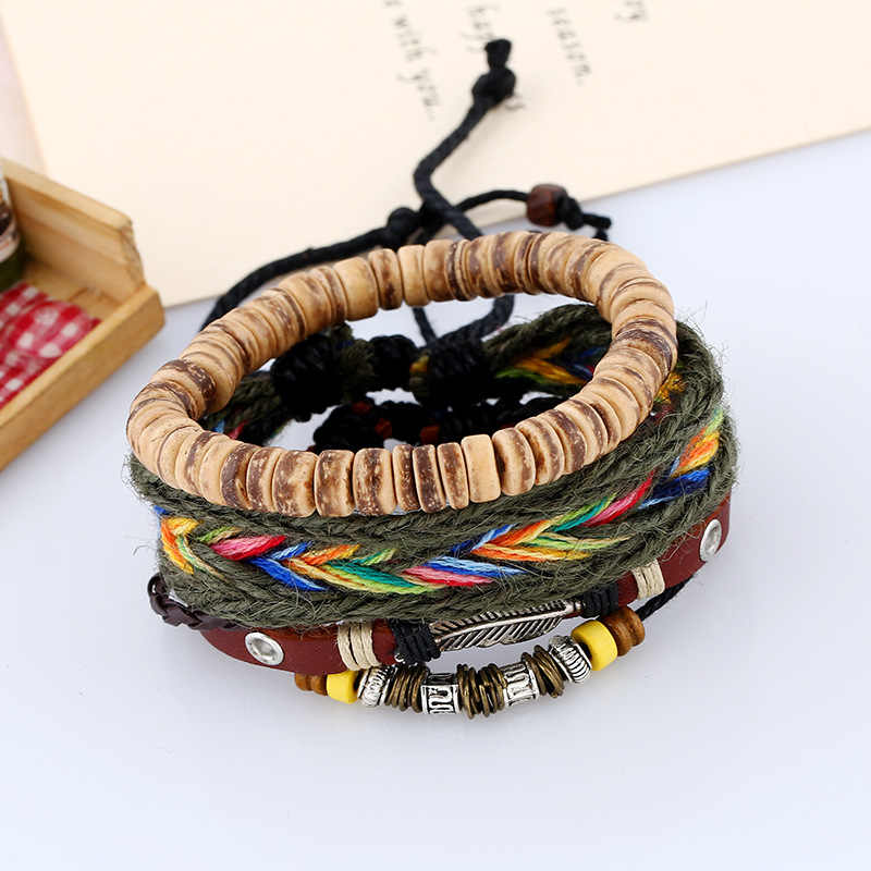3Pcs/Set Boho Gypsy Hippie Punk Wooden Beige Coconut Wood Beads Brown Leather Cord Wrap Macrame Wrap Bracelets Set for Man