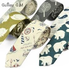 New Designer Print Ties Casual Narrow Necktie for Men Hip-hop Party Floral Cotton Skinny Tie Cravat