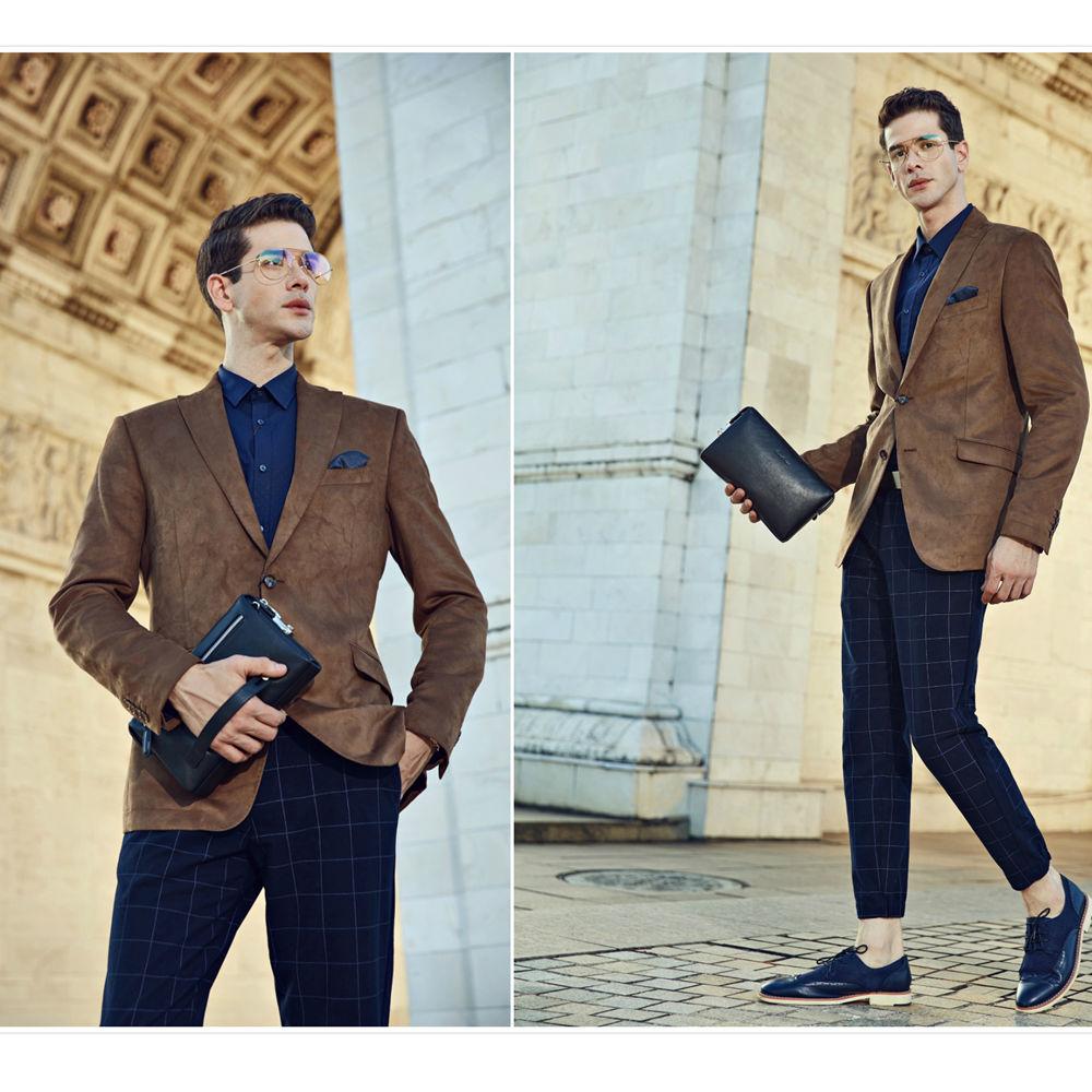 BISON DENIM en cuir véritable hommes portefeuilles d'embrayage mode Zipper homme portefeuille hommes sac à main Long téléphone portefeuille hommes pochette N8015 - 2
