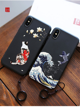 2019 Great Emboss Phone Case For Iphone7 7 Plus cover Kanagawa Waves Carp Cranes 3D Giant relief Iphone8 8