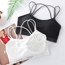 Sexy Women Strappy Rib Elastic Push Up Bra Tops Solid White Black Female Cozy Padded Simple Seamless Bras for 2019 New