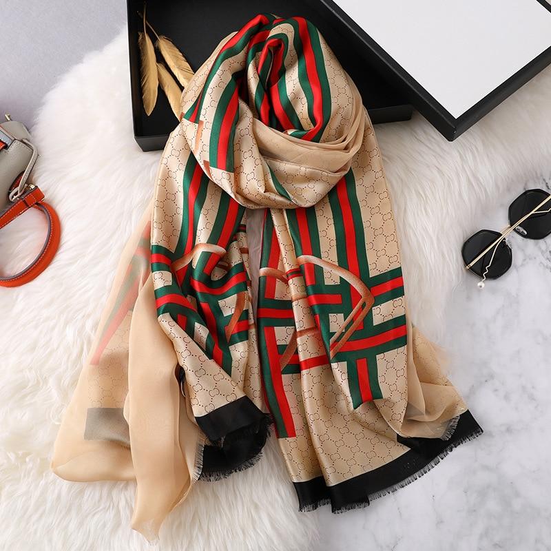 Winter Women' Silk   Scarf   Luxury Design Segment Double-Layer Scarfs Warm Neck Long Style Ladies Shawls and   Wraps   Famle Bandana