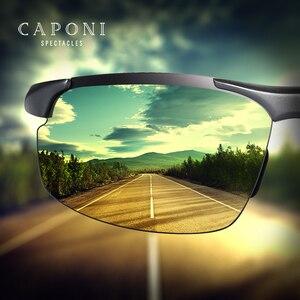 Image 3 - CAPONI Aluminum Magnesium Mens Sunglasses Polarized Sports Coating Sun Shades Driving Clear Vision Eyewear For Men UV400 CP8033