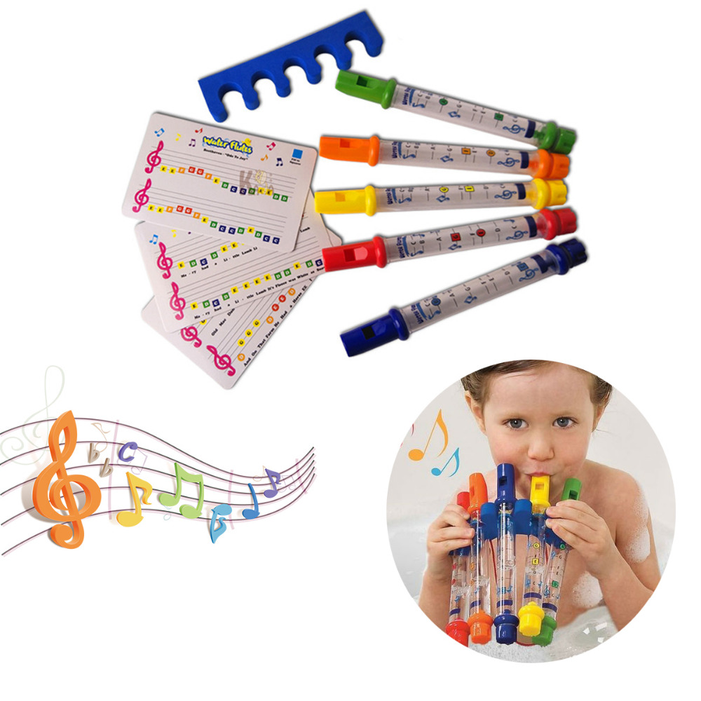 5pcs Row Kids Children Colorful Water Flutes Bath Tub
