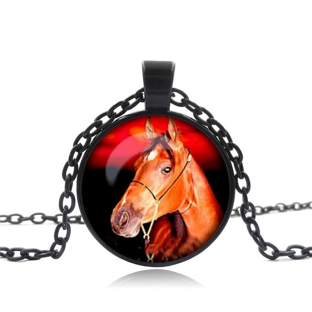 Vintage Glass Horse Necklace
