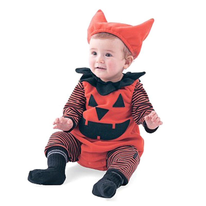 Halloween Fashion Cute Newborn Baby Clothes Sets Toddler Girls Cartoon Pumpkin Rompers+Hats+ Playsuit Baby Boys Girls Outfit