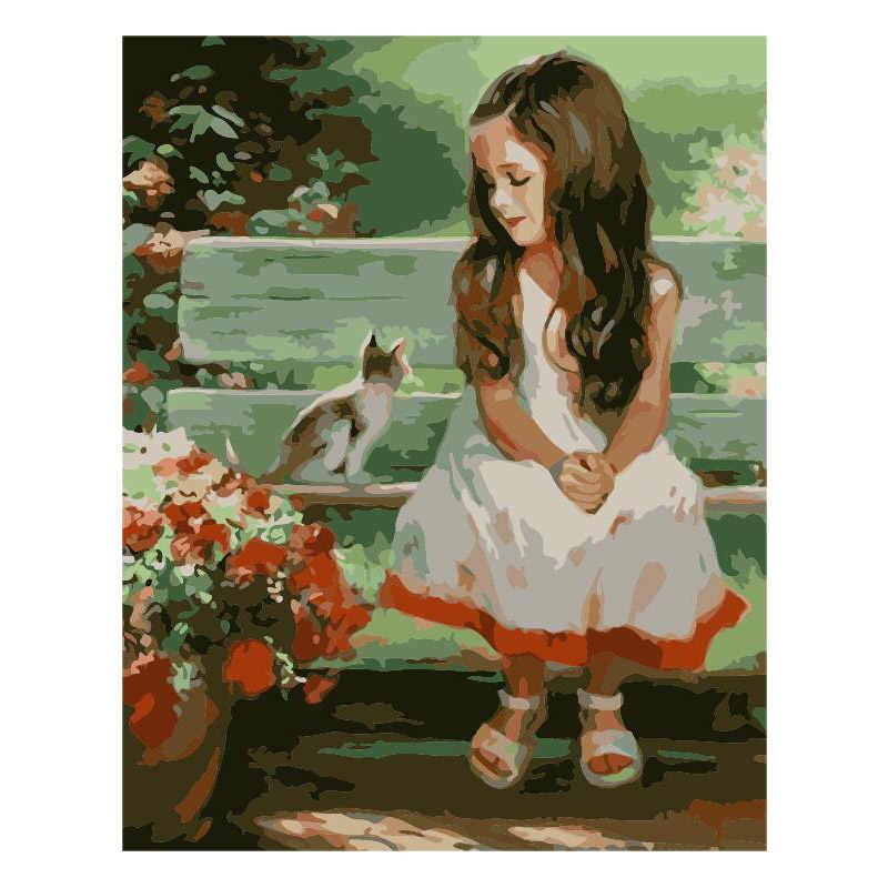 Девочка кошка цветок скамейка рисунок DIY цифровая картина маслом цифры Современная Настенная живопись уникальный подарок домашний декор 40x50 см