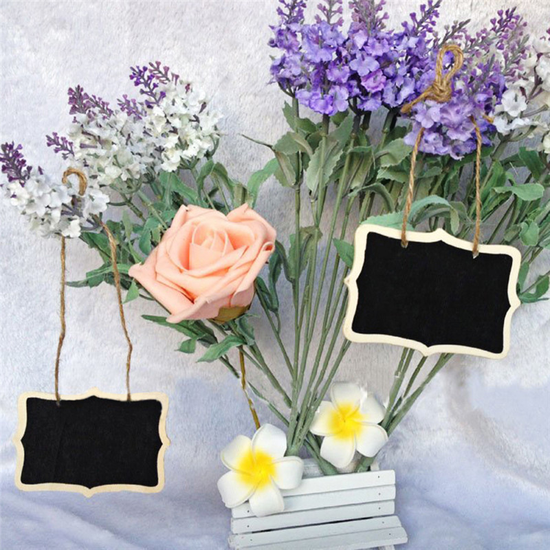 12pcs 6x8cm Mini Hanging Blackboard Signs Board Wedding Wooden Chalkboard Atmosphere Ceremony Reception Ornaments Decoration