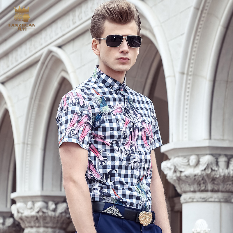Fanzhuan Free Shipping New fashion casual 2017 male men's short sleeve thin flower Bird Printed shirt blouse Plaid 713082 summer