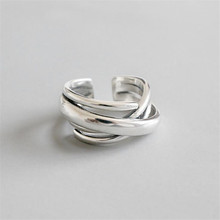 S925 Sterling Silver Jewelry Fashion Vintage Multilayer Irregular Ring Open Mouth Adjustable Rings For Women цена