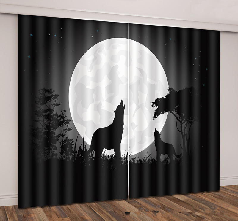 Creative Night Wolves Thick Fabric 3D Curtains for Living Room Sunshade Window Curtains Custom made Size