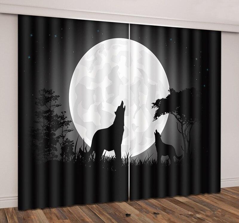 크리 에이 티브 나이트 늑대 두꺼운 패브릭 3d 커튼 거실 차양 창 커튼 사용자 정의 크기-에서커튼부터 홈 & 가든 의  그룹 1