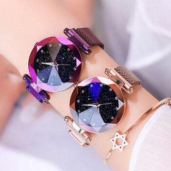 Maille d'acier inoxydable d'aimant de montre de dames de luxe avec la mode étoilée