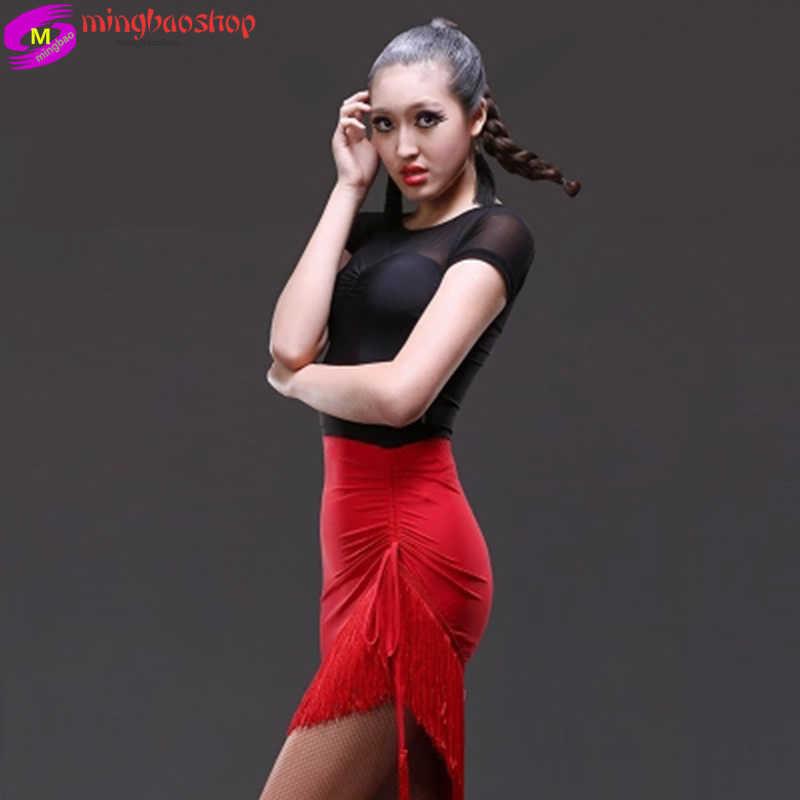 פרינג 'הלטיני סלסה טנגו רומבה צ' ה צ 'ה אולם נשפים ריקודי שמלת חצאית אדום שחור לטיני בגדי נשים לטיני ריקוד שמלה