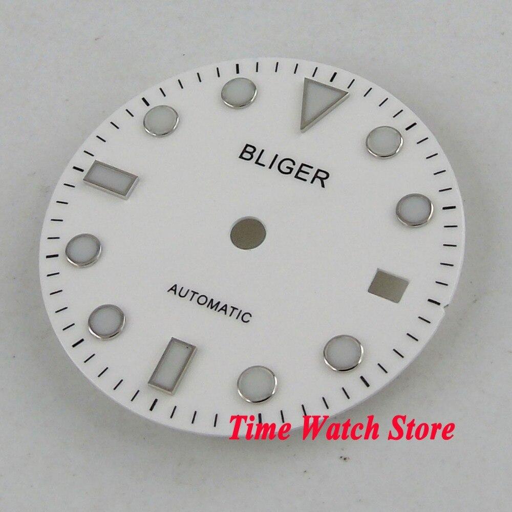 28,5mm Bliger Super Leucht Datum Fenster Weiß Uhr Zifferblatt Fit Miyota 8215 Mingzhu 2813 Automatische Bewegung D101