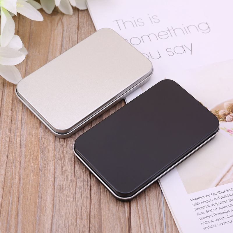 Small Metal Organizer Case Tinplate Can Storage Box For Makeup Double Eyelid Sticker Money Coin Key Gift Box Black/Silver