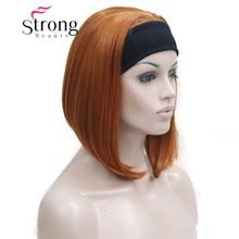 かわいいボブ 3/4 ヘッドバンドオレンジ女性の半分の髪合成かつらカラー選択肢