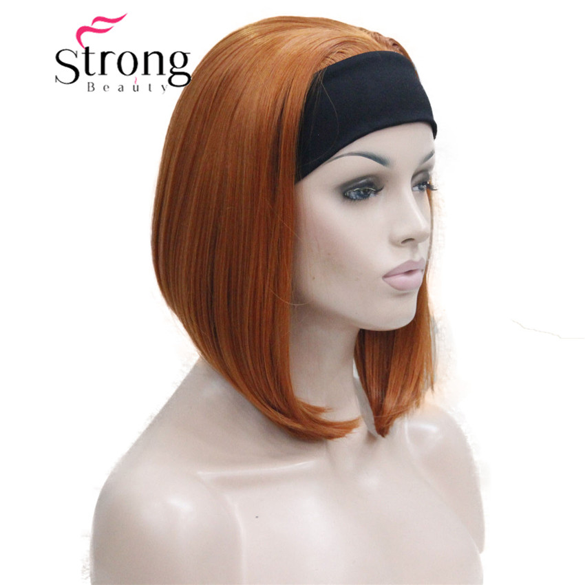 Cute BOB 3/4 Wig With Headband Orange Brown Straight Women's Short Half Hair Synthetic Wigs COLOUR CHOICES