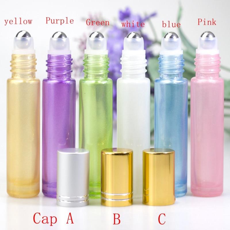 150pcs lot 10ml Pearlescent Roller ball bottles Pearl Glass Perfume Roll on Bottle Essential oil bottle