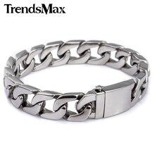 Bracelet en acier inoxydable pour hommes, 316l, à maillons incurvés, bijoux pour hommes, livraison directe, 13mm, KHB83, vente en gros
