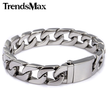 Mens Bracelet Curb Link Chain Wristband 316L Stainless Steel Bracelet For Male Jewelry Dropshipping Wholesale 13mm KHB83