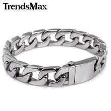 Pulseira masculina curb link corrente pulseira 316l pulseira de aço inoxidável para jóias masculinas dropshipping atacado 13mm khb83