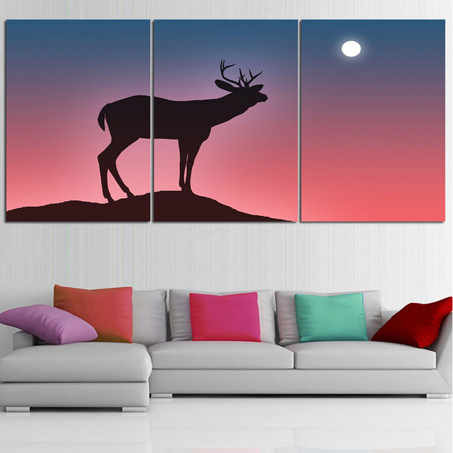 Modern Animal Oil Painting Deer silhouette Wall Art Posters and ...