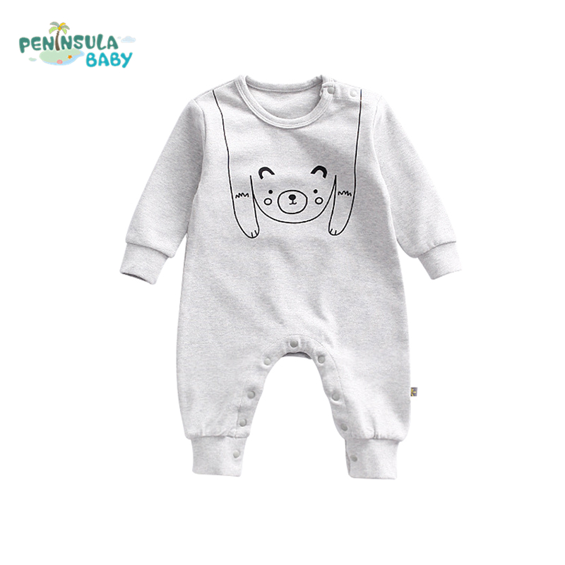Baby Clothes Cartoon Bear Cat Printing Newborn Body Suits Long Sleeve Solid Baby Rompers Girl Boy Wear Infant Jumpsuit Clothing