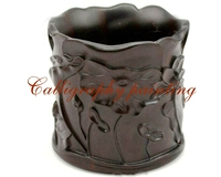 China Carving Wood Ink Painting Calligraphy Brush Pot Container